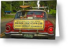 Surfboard Car With Bongos Greeting Card