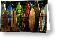 Surfboard Fence 4 Greeting Card
