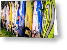 Surfboard Fence Maui Hawaii Greeting Card by Edward Fielding