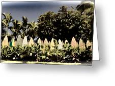 Surfboard Fence - Old Postcard Greeting Card