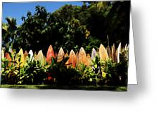 Surfboard Fence - Right Side Greeting Card