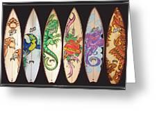 Surfboards Art Jungle Greeting Card