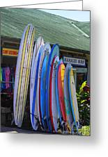 Surfboards At Hanalei Surf Greeting Card