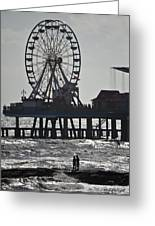 Surfer And Lovers At Pleasure Pier Greeting Card