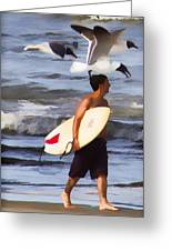 Surfer And The Birds Greeting Card