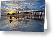 Surfer At Low Tide Greeting Card
