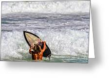 Surfer Catch The Wave Greeting Card
