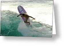 Surfer Cutting Back Greeting Card