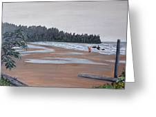 Surfer On A Rainy Day In Bc Greeting Card
