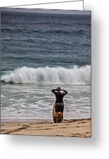 Surfer Checking The Waves Greeting Card