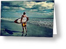 Surfer Walking The Beach Greeting Card