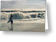 Surfer Watch Greeting Card by Laura Fasulo