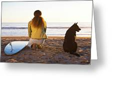 Surfer Woman And Dog On Beach Greeting Card