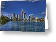Surfers City Skyline Day Greeting Card