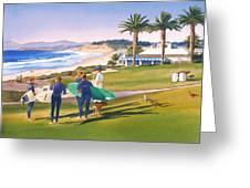 Surfers Gathering At Del Mar Beach Greeting Card by Mary Helmreich