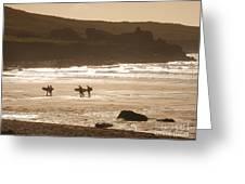 Surfers On Beach 02 Greeting Card