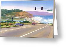 Surfers On Pch At Torrey Pines Greeting Card by Mary Helmreich