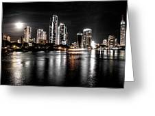 Surfers Paradise Night Reflections Greeting Card