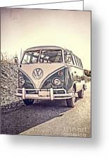 Surfer's Vintage Vw Samba Bus At The Beach Greeting Card