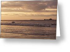 Surfing At Dusk Greeting Card