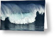 Surfing Jaws Running With Wolves Greeting Card