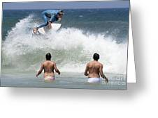 Surfing Joaquina Beach Brazil 1 Greeting Card