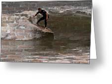 Surfing The Bricks Greeting Card