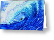 Surfing The Wild Wave Greeting Card