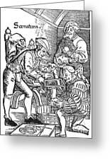 Surgeon Performing An Amputation. Woodcut From An Edition Of Hans Von Gersdoffs Feldtbuch Der Wundartzney, Strassburg, 1540 Greeting Card