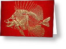 Surgeonfish Skeleton In Gold On Red  Greeting Card