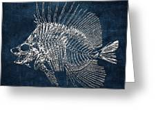Surgeonfish Skeleton In Silver On Blue  Greeting Card
