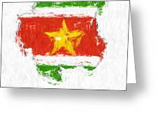 Suriname Painted Flag Map Greeting Card