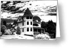 Surreal Black White Mackinac Island Michigan Infrared Victorian Home Greeting Card