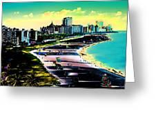 Surreal Colors Of Miami Beach Florida Greeting Card
