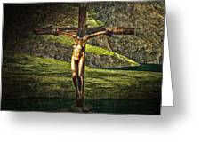 Surreal Crucifix Landscape Greeting Card
