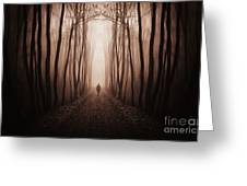 Surreal Dark Forest With Man Walking Trough Trees Greeting Card
