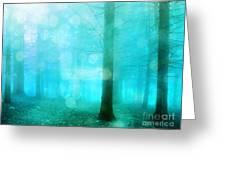 Surreal Dreamy Fantasy Bokeh Aqua Teal Turquoise Woodlands Trees  Greeting Card