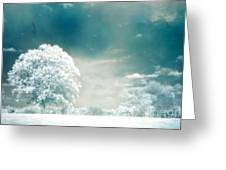 Surreal Dreamy Infrared Teal Turquoise Aqua Nature Tree Lanscape Greeting Card by Kathy Fornal