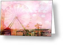 Surreal Dreamy Pink Myrtle Beach Ferris Wheel Greeting Card by Kathy Fornal