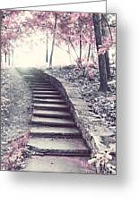 Surreal Fantasy Fairytale Pink Trees And Ethereal Woodlands Staircase  Greeting Card by Kathy Fornal