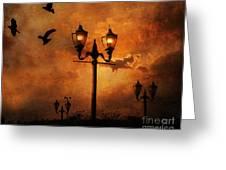 Surreal Fantasy Gothic Night Lanterns Ravens  Greeting Card