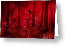 Surreal Fantasy Gothic Red Woodlands Raven Trees Greeting Card