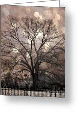 Surreal Fantasy Gothic South Carolina Sepia Oak Trees And Fantasy Bokeh Circles Greeting Card by Kathy Fornal