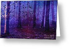 Surreal Fantasy Starry Night Purple Woodlands - Purple Blue Fantasy Nature Fairy Lights  Greeting Card