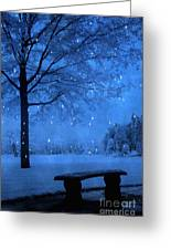 Surreal Fantasy Winter Blue Tree Snow Landscape Greeting Card by Kathy Fornal