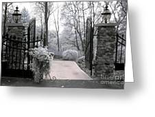 Surreal Haunting Infrared Nature Gate Scene Greeting Card