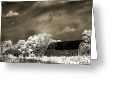 Surreal Infrared Sepia Rural Barn Landscape Greeting Card
