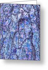 Surreal Patterned Bark In Blue Greeting Card