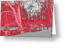 Surreal Red Winter Greeting Card
