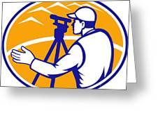 Surveyor Engineer Theodolite Total Station Greeting Card by Aloysius Patrimonio